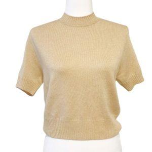 Vintage St. John basics gold metallic sweater top